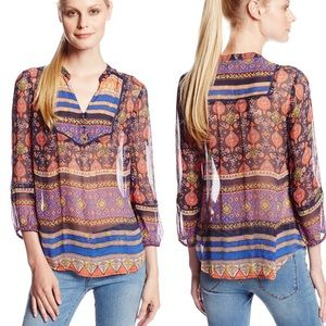 LUCKY BRAND paisley embroidered top size large